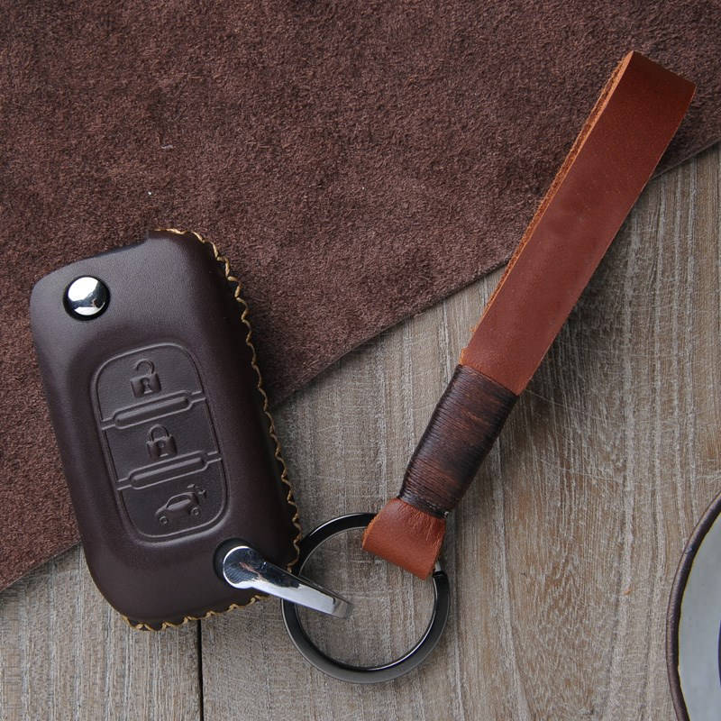 car genuine leather key case for benz smart fortwo forfour 2015 2016 car accessories cp001 universal genuine leather protective pouch keychain for car smart key brown black