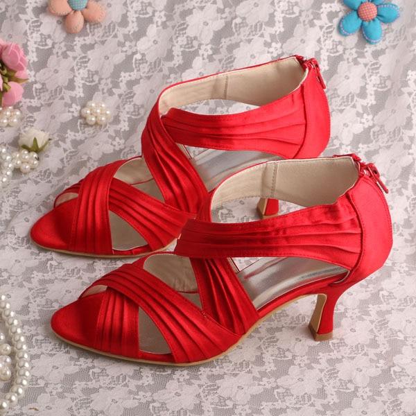 ФОТО Wedopus Medium Heel Sandals Party Red with Back Zipper