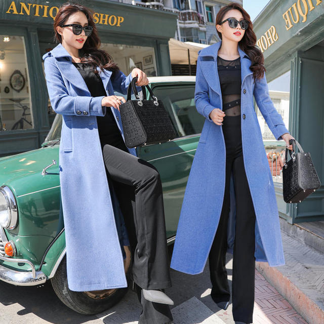 Plus Size 3XL Super Long Wool Coat Women Manteau Femme Fashion Elegant Winter Coat Women Lapel Warm Outerwear Women Parka C5128 4