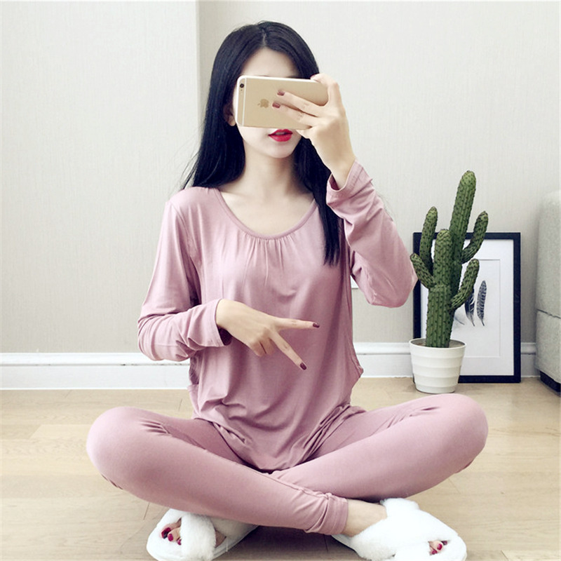 Pregnant women pajamas set cotton/modal qualitative postpartum lactation suit long sleeve Show thin pink nursing tops+trousers
