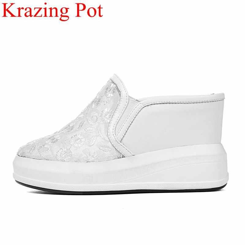 2019 mode sneaker plate forme augmenté sans lacet wedge femmes pompes à talons hauts bout rond mules été slingback chaussures décontractées L76-in Escarpins femme from Chaussures    1