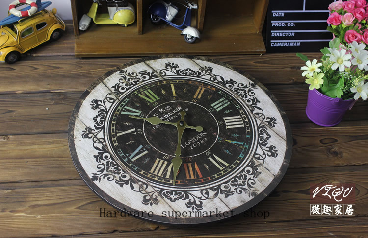 1 Picece Retro Vintage Rustic Wooden Home Decorative Wooden Pattern Wall Clock,Antique Clock, Clock Designed On The Wall