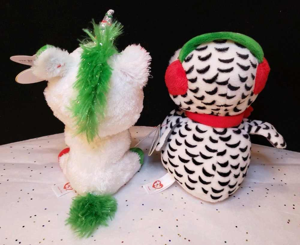 ... Ty Beanie Boo NEW 2018 Holiday Exclusive Lot CANDY CANE the Unicorn and  NESTER Snow Owl ... 928690237f55