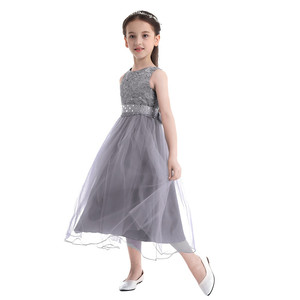Image 2 - Kids Girls Sequined Lace Mesh Party Princess Dress Flower Girl Dress Children Prom Ball Gowns Wedding Birthday Formal Dress