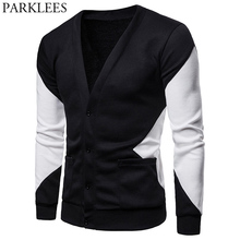 Hit Color Patchwork Cardigan Sweater Men Casual V Neck Male Black White Knit Pockets Sweaters Fashion Street Wear Pull Homme XXL