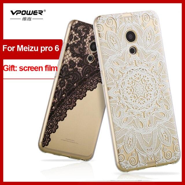 Vpower for meizu pro 5 & pro 6 3d HD relief tpu cartoon Case Cover for meizu pro 5 6 pro Phone soft Case+Screen Film