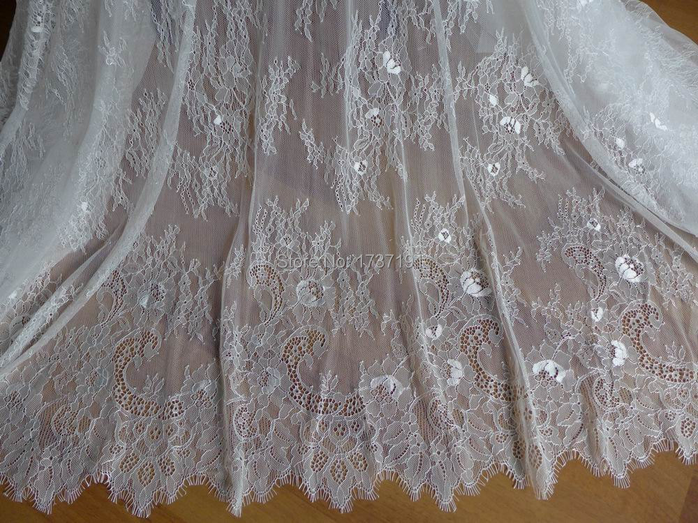 Off white chantilly fabric vintage wedding gown lace for Wedding dress lace fabric