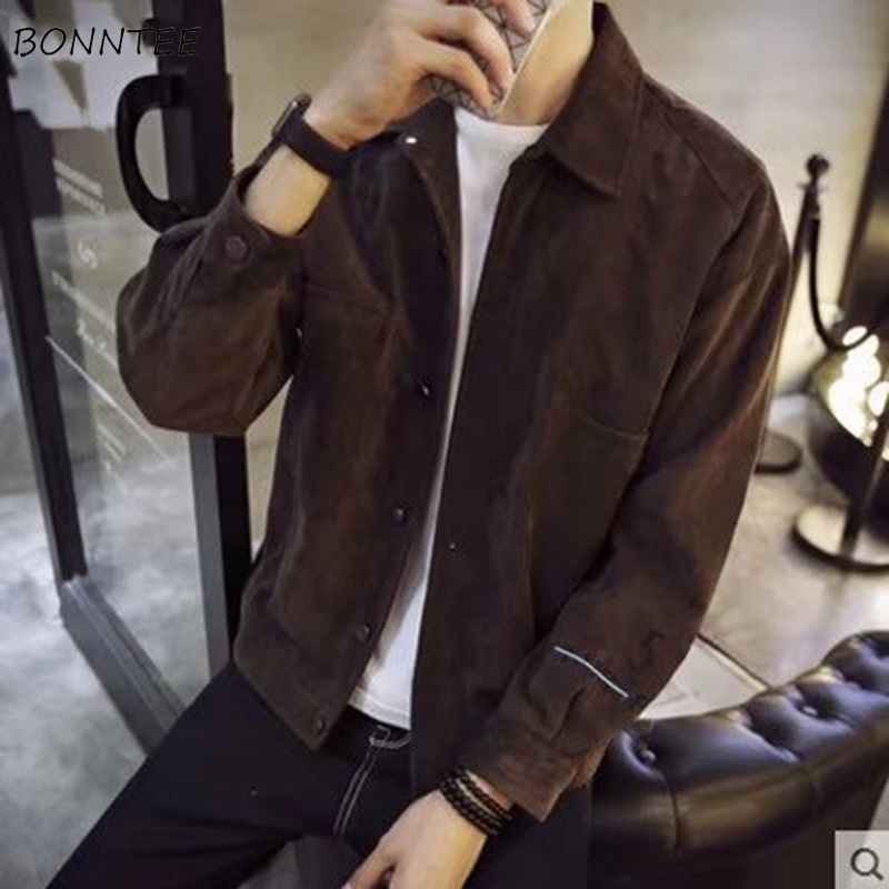 Jackets Men Coats Korean-Style Turn-Down-Collar Ulzang Slim Soft High-Quality Solid Leisure