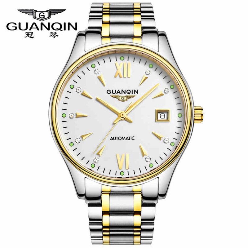 Brand GUANQIN Boutique men's watches self-winding Automatic mechanical watch men Business Sapphire calendar crystal clock hours