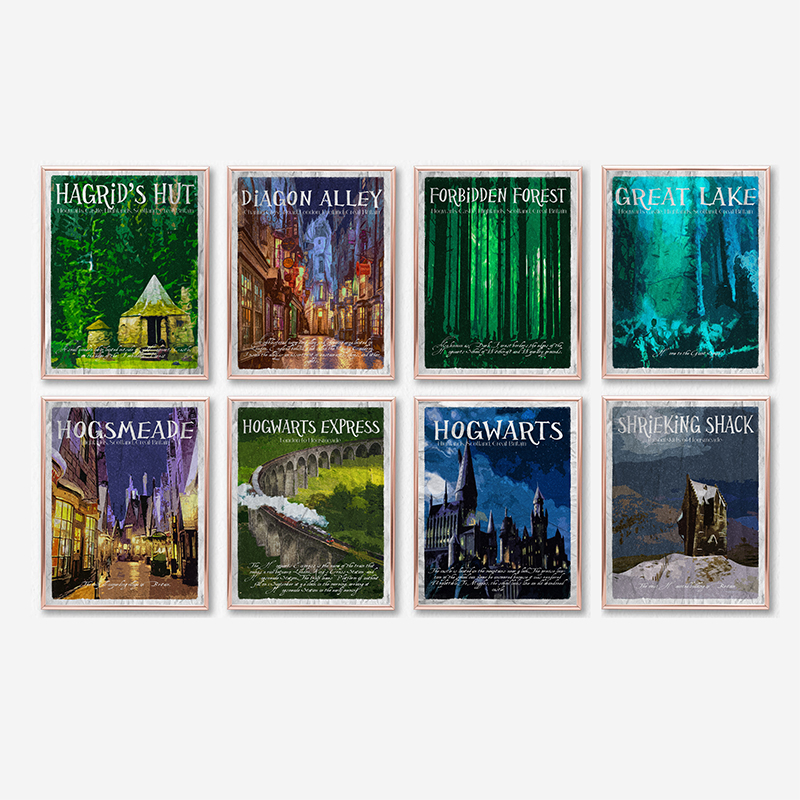 Movie Places Travel Posters Wall Art , Harry Canvas Painting Castle Express Hagrid Poster Prints Kids Room Decor image