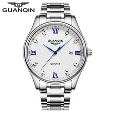 GUANQIN GQ80007 Original Brand Authentic business watches men's quartz watch ultra thin white stainless steel relogio masculino