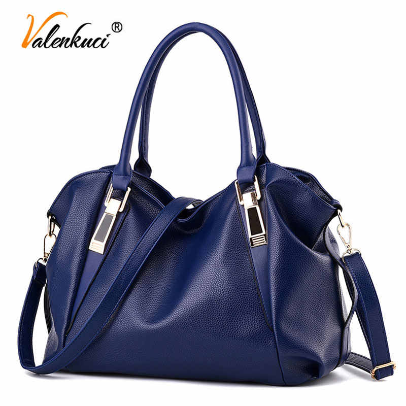 fashion new 2018 women leather handbags solid shoulder bags for women bags top-handle bags ladies tote black purse SD-685