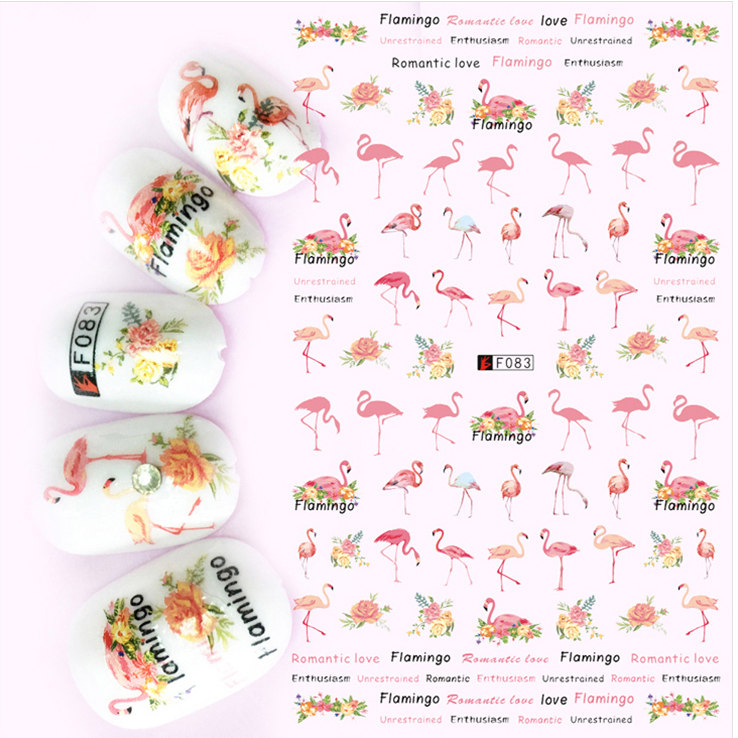 1pcs 3D Super Thin Nail Stickers Tips Nail Art Adhesive Decals Manicure Decoration Summer Tropical Flamingo Nail Wraps F083 24pcs lot 3d nail stickers decal beauty summer styles design nail art charms manicure bronzing vintage decals decorations tools