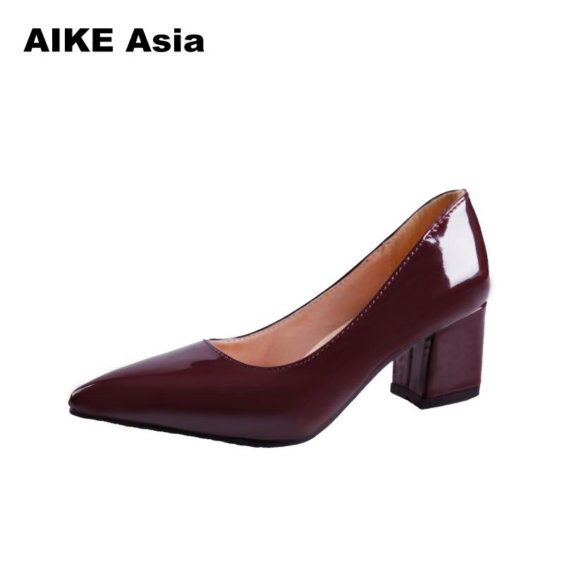size 33-43  2019 Women Pumps Elegant Shoes Slip on Square High Heels Pointed Toe Shallow Spring Autumn Wedding Women Shoes #5891size 33-43  2019 Women Pumps Elegant Shoes Slip on Square High Heels Pointed Toe Shallow Spring Autumn Wedding Women Shoes #5891