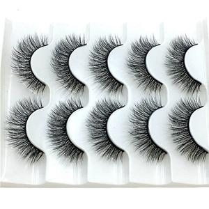 2020 NEW 5 pairs Mink Eyelashes 3D False lashes Thick Crisscross Makeup Eyelash Extension Natural Volume Soft Fake Eye Lashes(China)