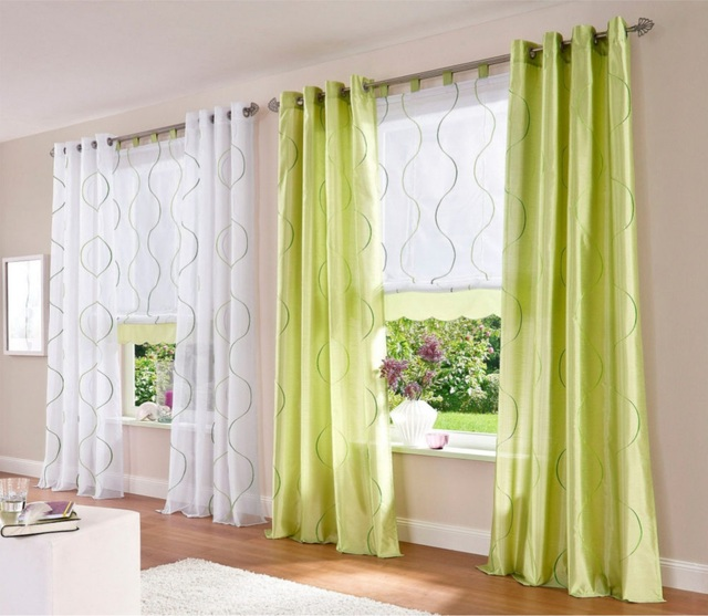 1pair Popular Embroidery Living Room Window Curtain Thin and Thick Options