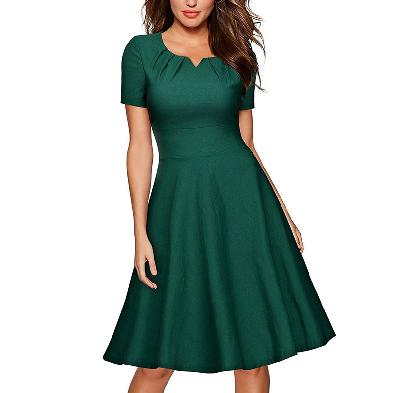 New Arrival Autumn Women Classic Press Layer O Collar Dresses Lady office A Line Party Dress
