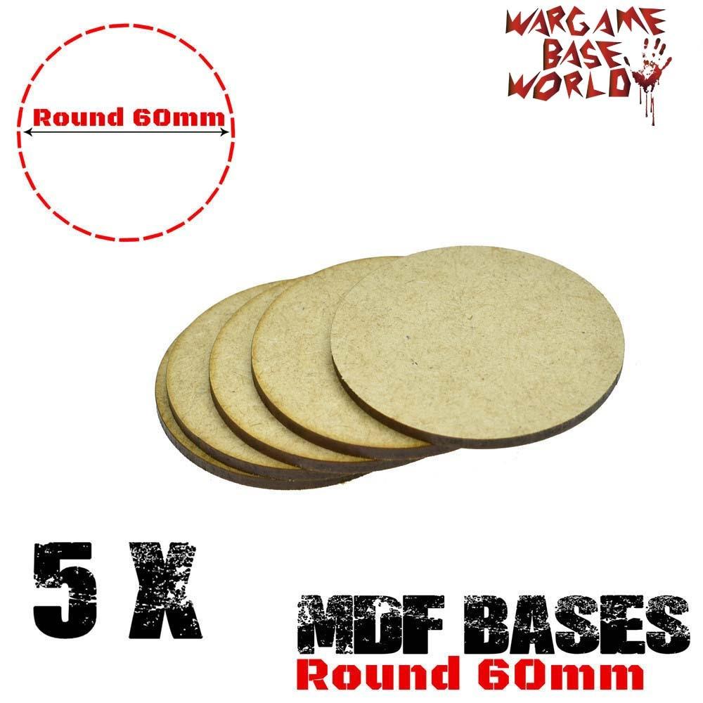 MDF Bases - 60mm Round Bases- Basing Laser Cut Wargames Wood