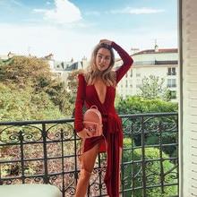 Deep V-neck Cross Bandage Velvet Party Dress  2019 New Arrivals Bodycon Long Sleeve Nightclub Party Dress Vestidos