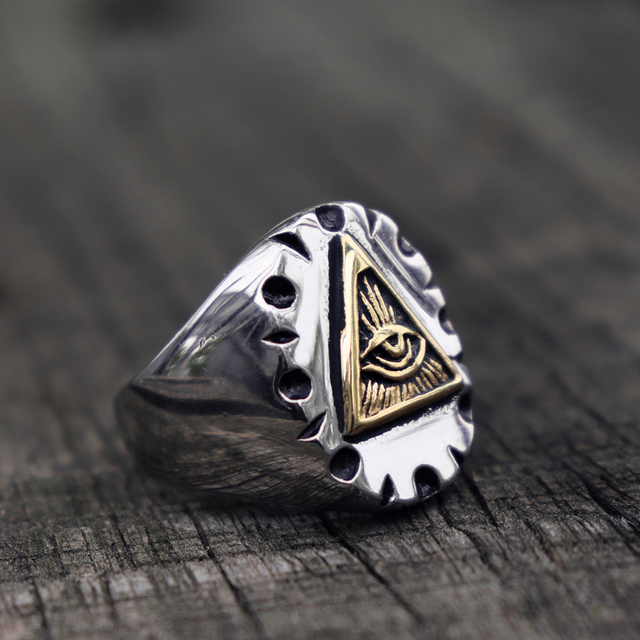 Masonic Triangle Illuminati Biker Rings Mens Mexican Vintage Punk Stainless Steel Ring Freemason Jewelry Gifts