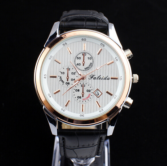 26812b6f1f1 HAIXIA 8152 Round Dial Men s Fashionable Quartz Watch With Faux Leather  Strap Daily Waterproof-in Quartz Watches from Watches on Aliexpress.com