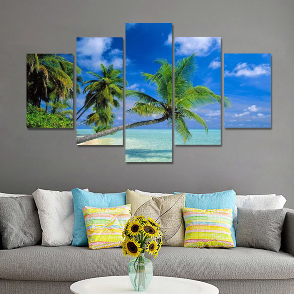 Unframed HD Canvas Prints Blue Sky Coconut Tree Seawater Beach Seascape Prints Wall Pictures For Living Room Wall Art Decoration
