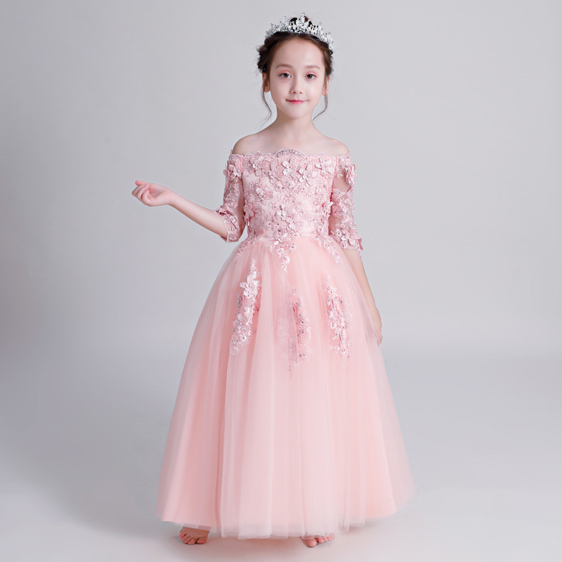 2018 Autumn New Elegant Princess Flower Girls Dresses For Wedding Kids Pink Lace Formal Birthday Wedding Party Prom Mesh Dress girls lace mesh half sleeves dress for princess pageant wedding bridesmaid birthday formal party
