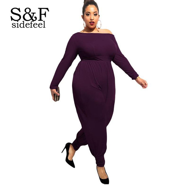 bdd96f0fe061 High Quality Harem Jumpsuit 2016 Elegant Purple Off-shoulder Long Sleeves  Plus Size Jumpsuits And Rompers For Women LC64064