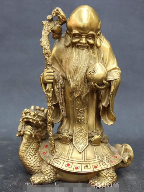 Statue de longévité de tortue de tortue de Dragon en Bronze chinois de 10