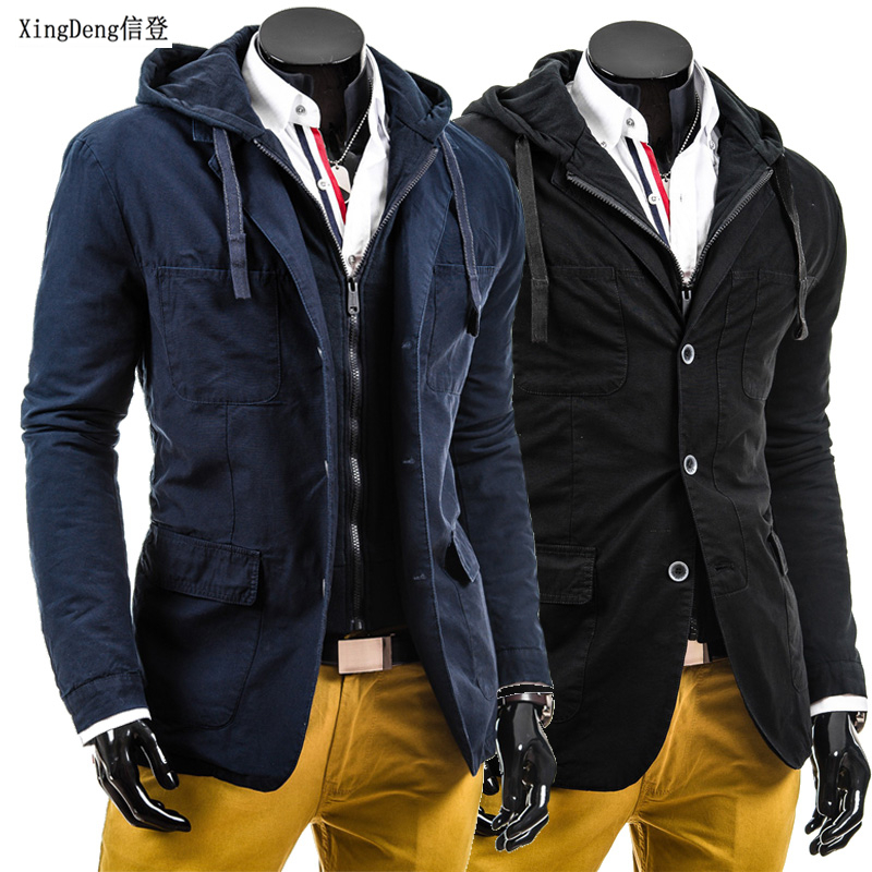 4c4e539e4e9 XingDeng zipper buttons double placket jacket 80s fashion casual spring  clothing Autumn winter new men s casual top coats plus-in Jackets from  Men s ...