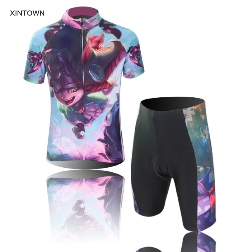 2016 XINTOWN Children Cycling Jersey Short Sleeve Jersey Ropa Ciclismo Bike Bicycle Clothing For Spring Summer Autumn CC0410 keyiyuan children cycling clothing set ropa ciclismo bicycle kids summer bike short sleeve jersey shorts sets blue