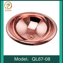 Europe Vintage Style Handmade Artistic Glossy Round Rose Gold Coating Countertop Bath Wash Bathroom Sink Vessel