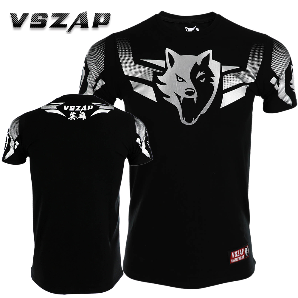 New VSZAP T-shirt Men Sports Aerobics Running Boxing Clothing Boxing Gym T Shirt Cheap Mma Muay Thai MMA Suits Tee Shirt