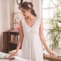 Princesse Nightgown Sleeveless Home Wear Dress Long Sleepshirts Cotton Sleepwear Loose White Vintage Negligee Nightdress