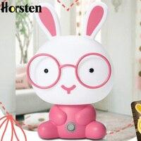 Horsten Rabbit LED Night Light Glasses Cute Cartoon Desk Lamp Children Room Baby Sleeping Lights Decoration Kids Gift US EU Plug