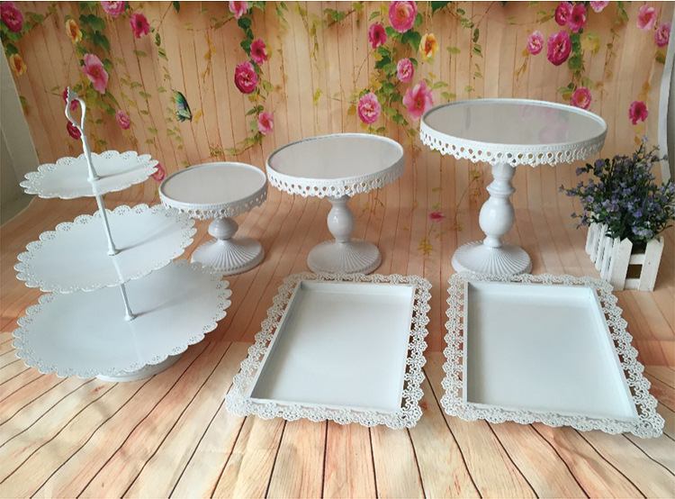 6 pieces cupcake stand decorating cooking cake tools bakeware set party dinnerware White wedding cake accessory stand set-in Stands from Home u0026 Garden on ... & 6 pieces cupcake stand decorating cooking cake tools bakeware set ...