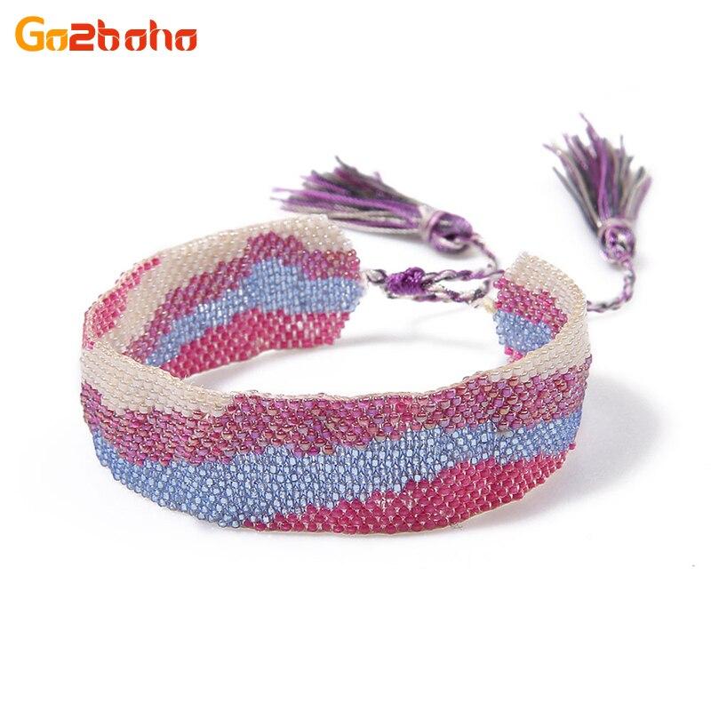 Go2boho Vintage Ethnic Cuff Bracelet MGB Seed Beads Handmade Adjustable Bracelets Tassel Beaded Woven Wave Pattern Love Bangles bead