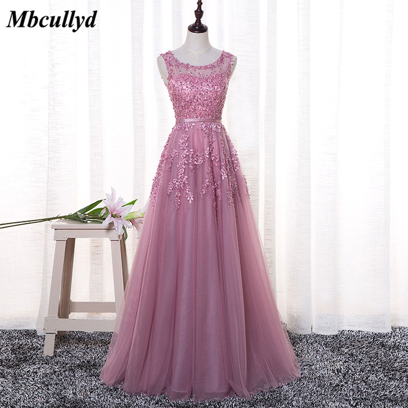 Mbcullyd Dust Pink Bridesmaid Dresses 2018 Elegant Pearls Lace Appliques Robe De Soiree Floor Length Dress Women Party Wedding