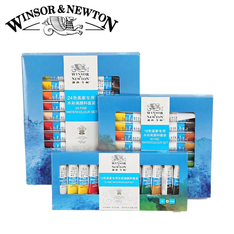 Winsor Newton 12 18 24Colors Watercolor Paint High Quality Transparent Watercolor Pigment For Artist School Student
