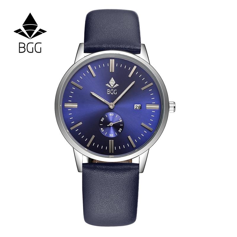 2016 Top Brand Luxury Men's Fashion Watches Ultra Slim Men Calendar Quartz Watch Waterproof BGG Genuine Leather Male Clock Blue