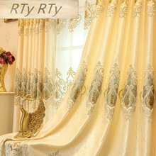Ready Made Window Curtains For Living Room Luxury Embroidery Blinds Blackout Curtain Fabric and Tulle For Villa Bedroom wp303-40(China)