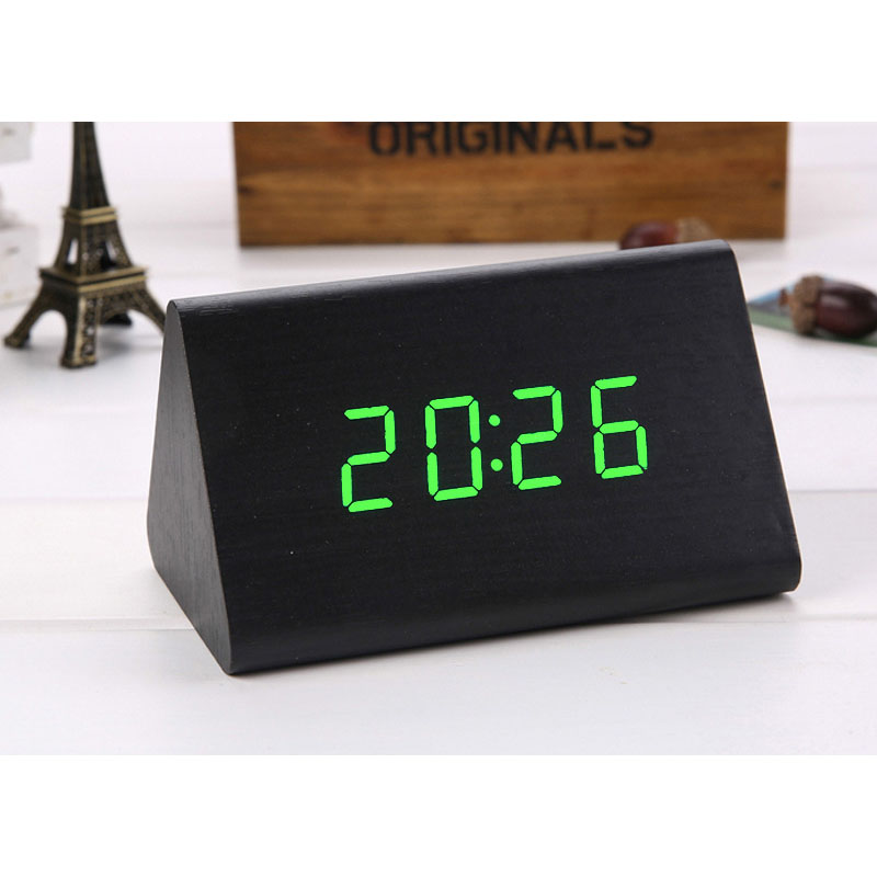 Voice Control Digital LED Wooden Alarm Clock Desk clock Bedside Watch Home Decoration Green