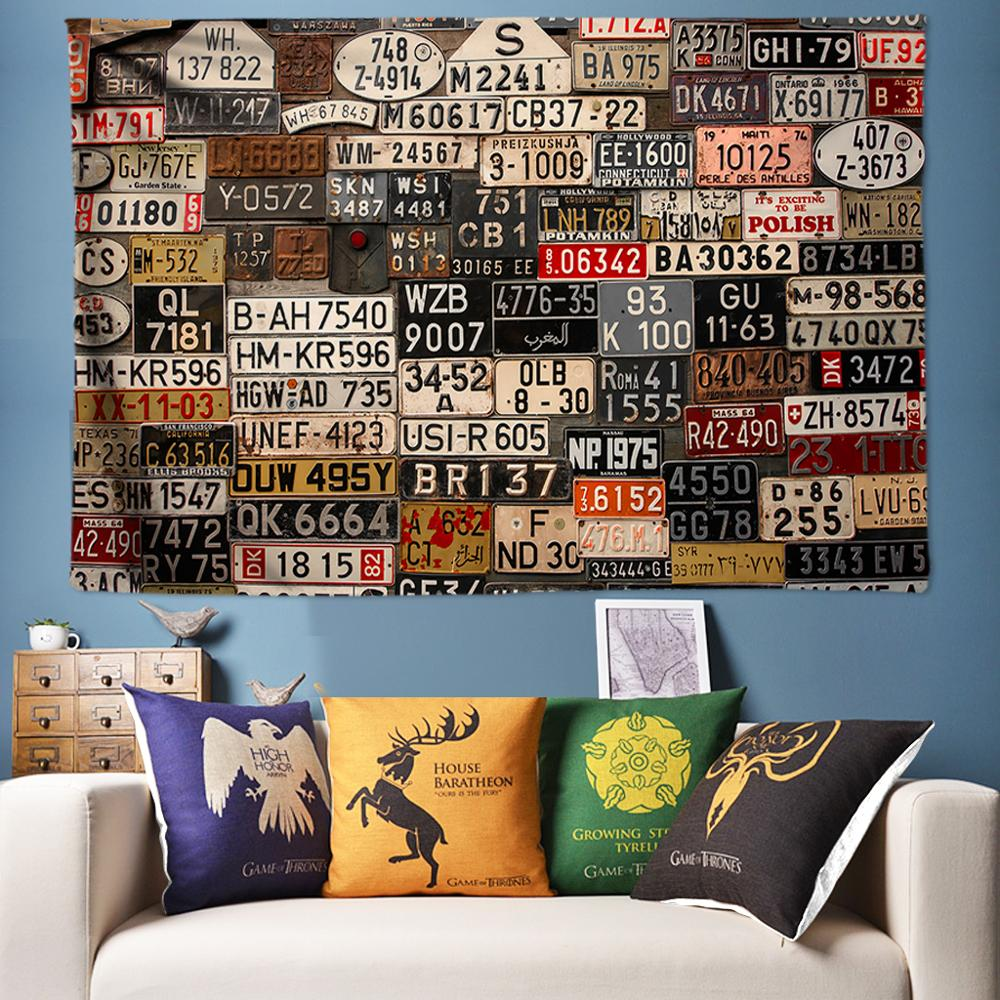 License Plate 3D Tapestry Indian Wall Hanging Boho Decor Hippie Tapestries Bedroom Rug Couch Blanket tapiz pared tela