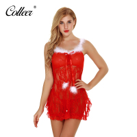 COLLEER Women Sexy Lingerie Christmas Bras Clothing Sling Super Soft Gauze Uniform Christmas Bridal Dress Bra