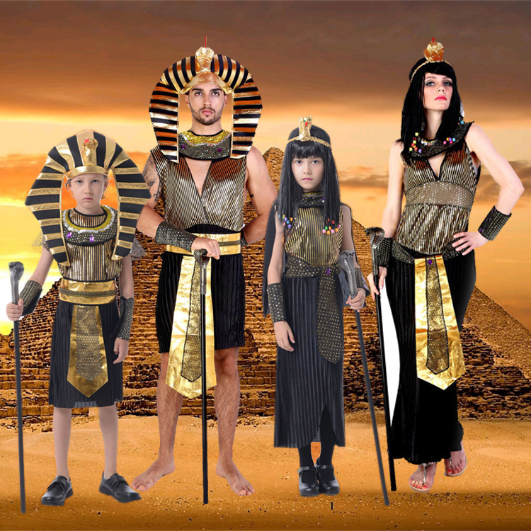 Free Shipping Egypt Costumes 2017 New Egyptian pharaoh Cosplay masquerade Halloween adult childen kid Girl costume