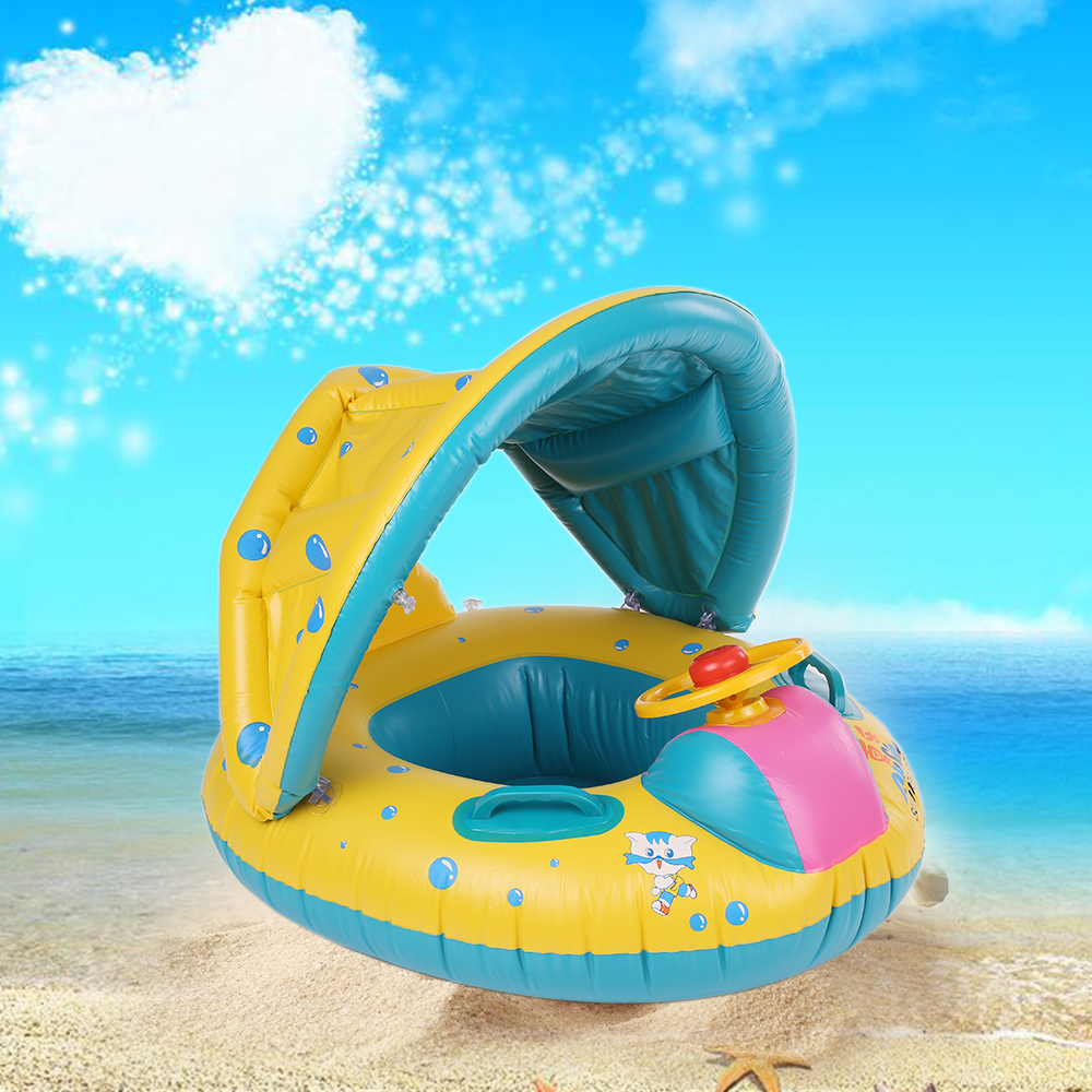 Summer Soft Baby Swimming Pool Float Boat Rider With Detachable Sun Canopy Shade Toys For Baby Kid Children