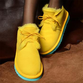 W nowym stylu najlepsza oryginalna skóra owcza kobieta śniegowe buty 100 naturalne buty śniegowe futrzane ciepła wełna damskie zimowe buty tanie i dobre opinie JAYX Futro ANKLE Płytkie Stałe Dla dorosłych Mieszkanie z Buty śniegu Z wełny Okrągły nosek Zima Mieszkanie (≤1cm)