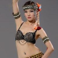 Hot Phụ Nữ Dancewear Sexy Punk Áo Ngực Bạc Chain Tassel Kim Loại Studs Push Up Sequin Bra B/C CUP Đảng Mang Belly Dance Tribal khiêu vũ