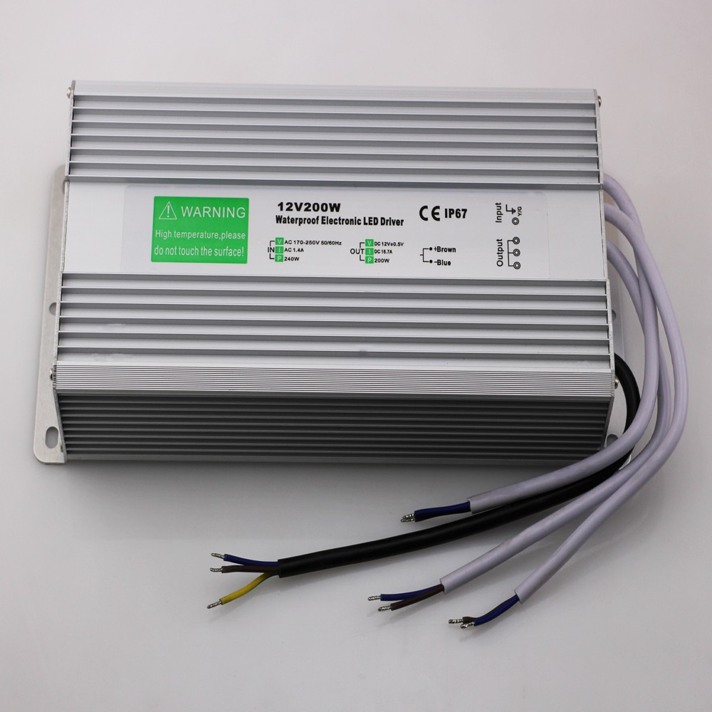 Free Shipping AC 90-250V to DC12V DC24V 200 watts Waterproof LED Power Supply Driver Transformer, Aluminum Alloy Case  free shipping 5pcs lot 150w hot selling ac90 250v to dc12v or dc24v transformer ip67 waterproof led driver power supply