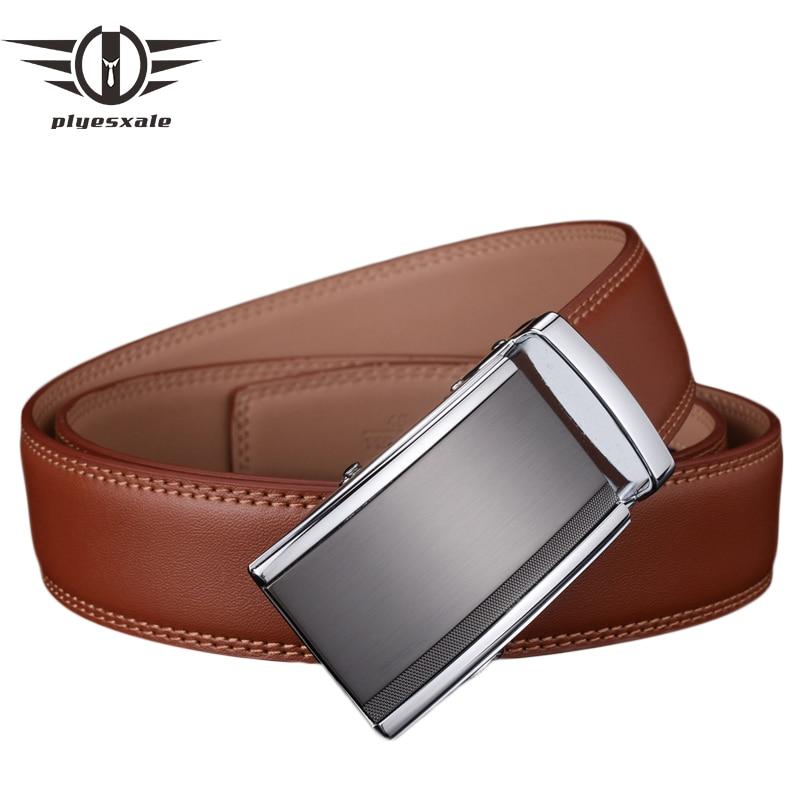 Plyesxale Mens Belts Luxury Genuine Leather Brown Men Belt Automatic Buckle Dress Belts For Men Ceinture Homme Luxe Marque G57